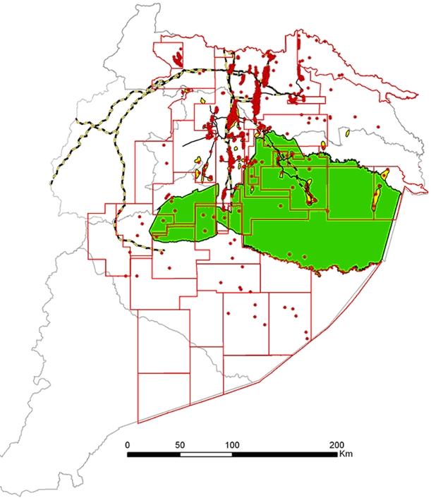 Región Amazónica Ecuatoriana: infraestructuras hidrocarburíferas y superposición con la Reserva de Biosfera Yasuní. (Pappalardo, 2009)