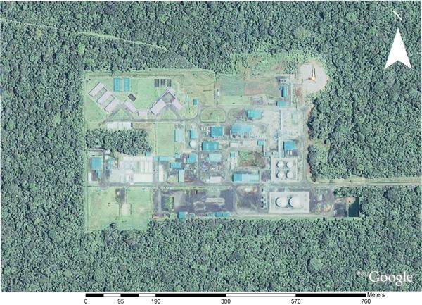Dimension espacial de la infrastrutura para el procesamiento del crudo