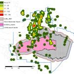 Parque Nacional Yasuní, Reserva Indígena Waorani: densidad de los pozos por 100 km2 (Pappalardo, 2009).