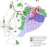 Ecuador: infraestructuras hidrocarburos y superposición con el sistema de áreas protegidas (SNAP). (Pappalardo, 2009)