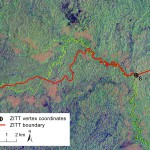 Detail of the Landsat TM 5 satellite scene and the boundary section close to point No. 8. The boundary section drifts away from the Rio Nashiño riverbed runs over a hill's ridge in two spots, violating both the terrain morphology and the same official text (Decree 2187, 2007).