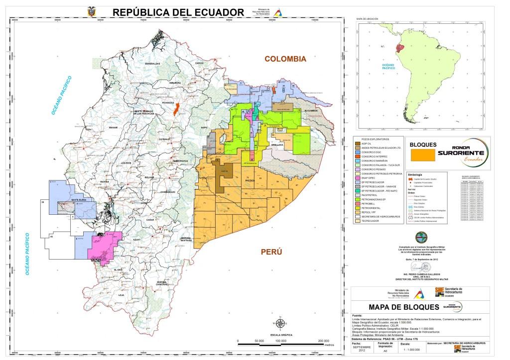 Mapa catastral Ecuador (Secretaria de Hidrocarburos)