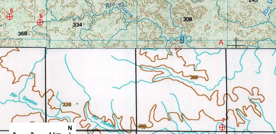 Fig. 2 -  Perimeter of Zona Intangible Tagaeri Taromenane (ZITT) including points No. 5, No. 6, No. 7. (IGM Ecuador, scale 1:250,000). Points No. 6 and No. 7 belong to different rivers: the former to the Rio Dicaro, the latter to the Rio Nashiño.
