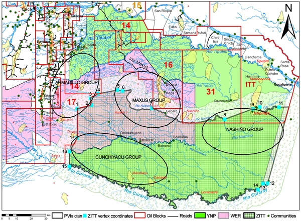 Figure 6. Synthesis map: Yasuní National Park (YNP), Waorani Ethnic Reserve (WER), Zona Intangible Tagaeri Taromenane (ZITT) and oil blocks.