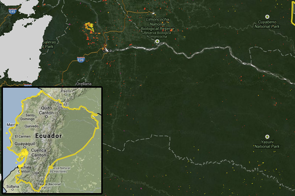 Reciente deforestacion en el Oriente Amazonico Ecuatoriano (pixel amarillo, naranja y rojo). courtesy of Terra-i.