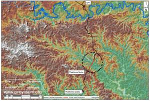 Modelo Digital de Elevaciones (SRTM) en el area del Rio Pindoyacu