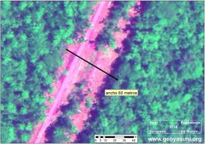 Cruce del valle Pindoyacu: medidas de anchura (World-View-2, Septiembre 2013)
